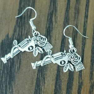 Gun & Rose Dangle Earrings Silver Handmade